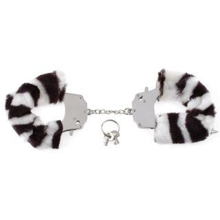 Наручники металлические Furry Love Cuffs с мехом Зебра