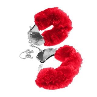 Наручники металлические с красным мехом Original Furry Cuffs