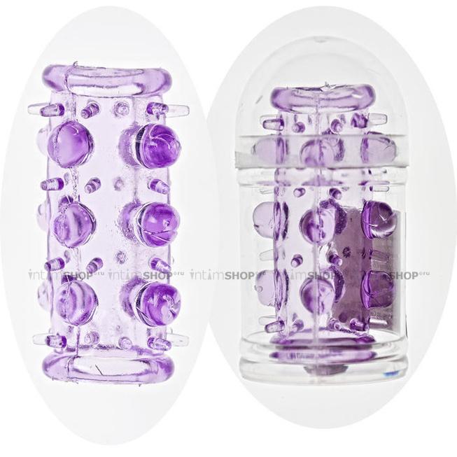 Насадка на фаллос Sextoy с шипами и бусинами, фиолетовая