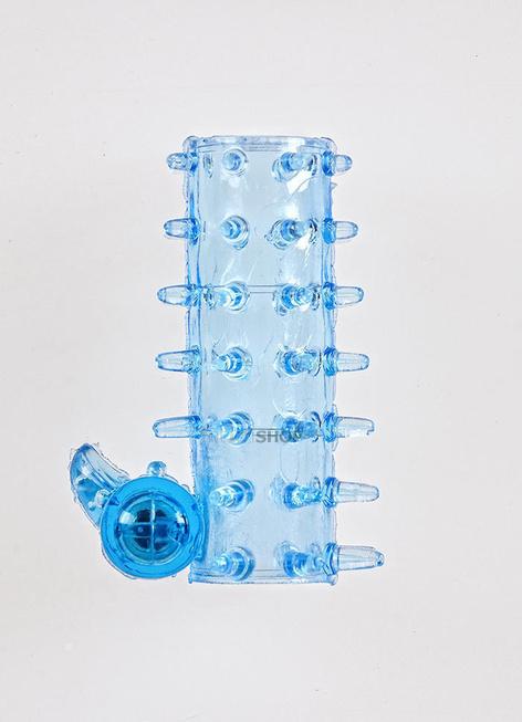 Насадка Sextoy открытая с шипами, вибрацией и стимуляцией клитора, голубая