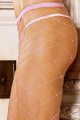 Нежно - розовые колготки в сетку
