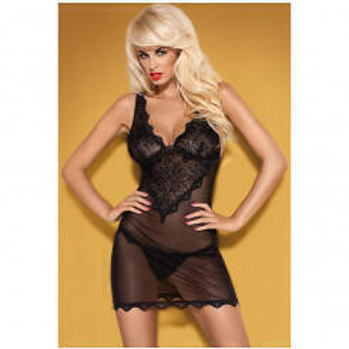 Элегантная сорочка EMPERITA CHEMISE Obsessive, черная, L/XL