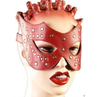 Очки-маска из красной кожи