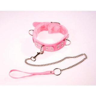 Ошейник виниловый розовый с мехом