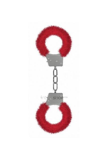 Металлические наручники с меховой обивкой Beginner's Handcuffs Furry Shots, красный