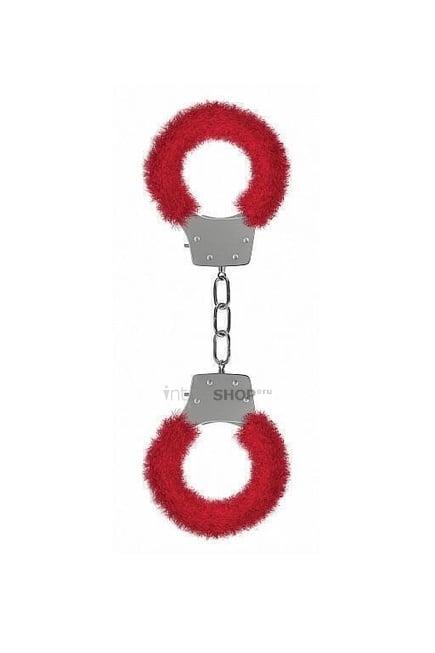 Металлические наручники с меховой обивкой Pleasure Handcuffs Furry Shots, красный