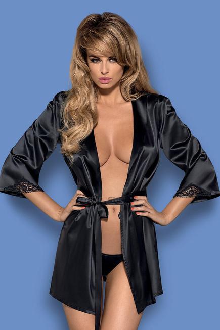 Пеньюар Obsessive Satinia robe Black размер S/M