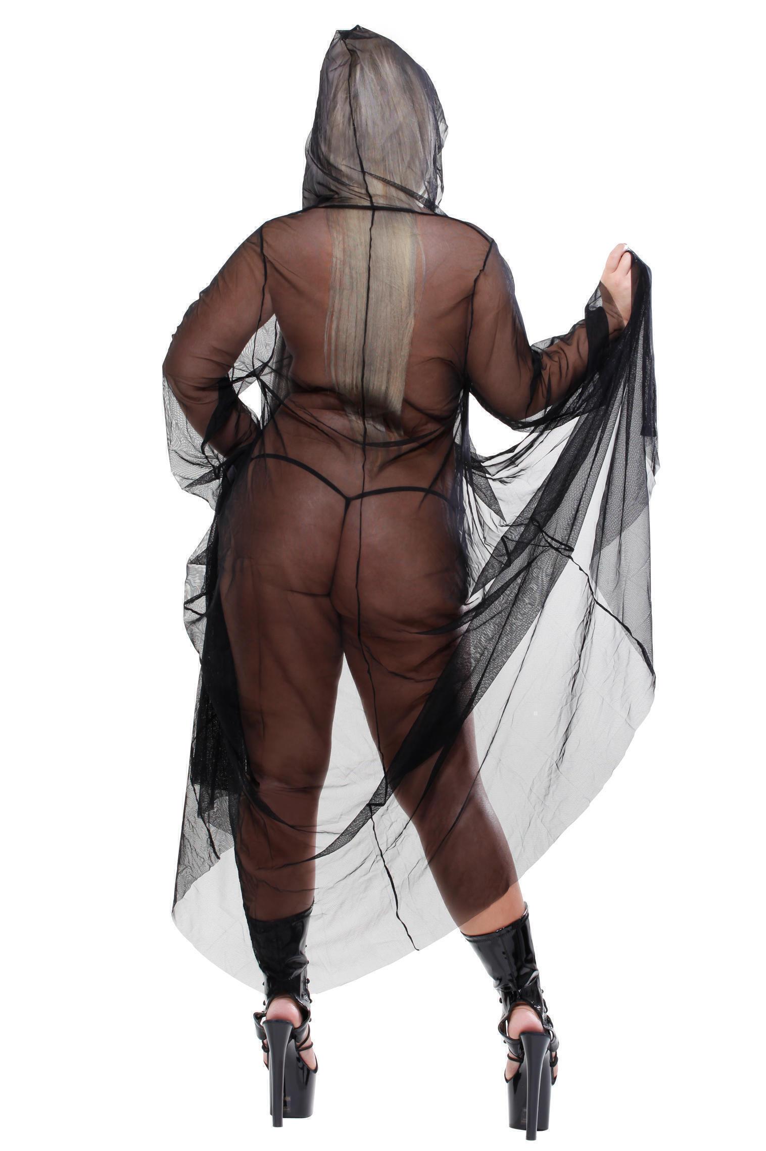 Пеньюар с капюшоном The Reaper со стрингами, черный, Queen Size