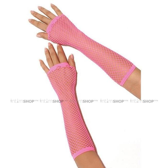 Перчатки Electric Lingerie в сеточку длинные розовые OS