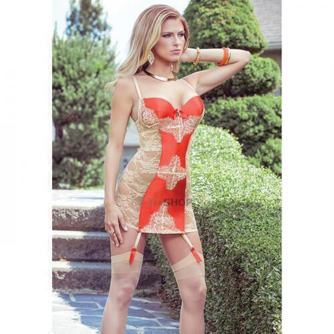 Платье Coquette с Кружевной Спиной и Контрастной Вставкой Sexy Terracottas, M