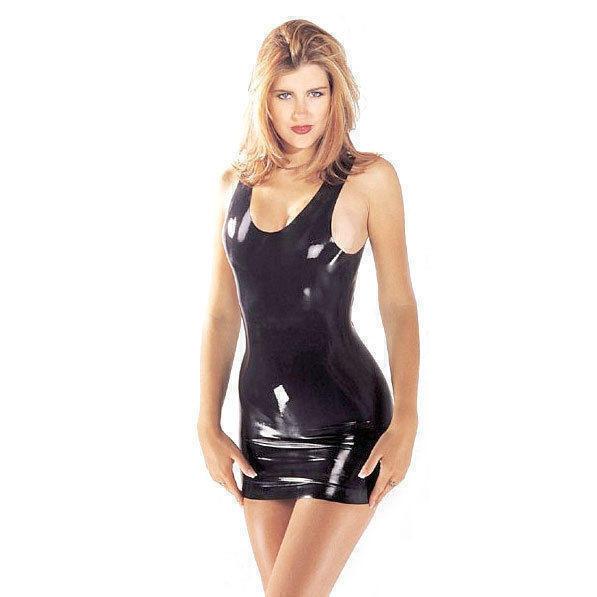 Платье Sharon Sloane - Latex Mini Dress Large, цвет черный