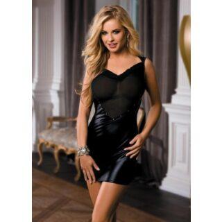 Платье с Открытой Спиной, wetlook, черное-OS