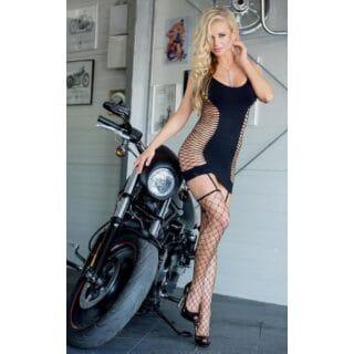 Платье с поперечными разрезами на боках+ чулки, черное OS
