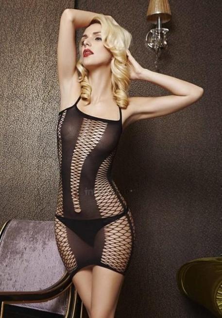 Платье Temptlife с вставками из крупной сетки, черное OS