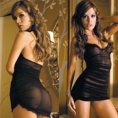 Полупрозрачное платье HL217-BLK