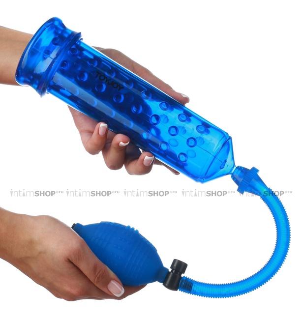 Мужская помпа для эрекции Power Massage Pump W. Sleeve Blue, голубая