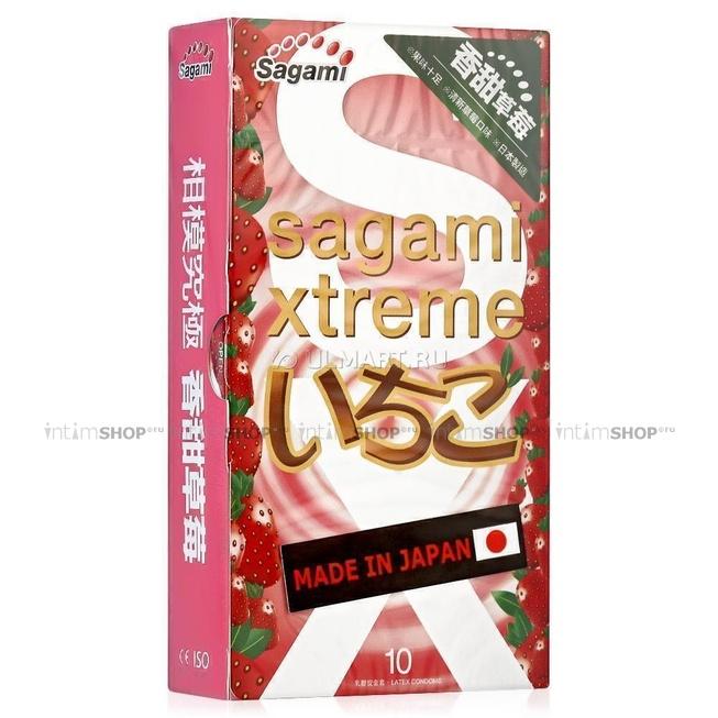 Презервативы SAGAMI Xtreme Strawberry 10шт. латексные со вкусом клубники фото