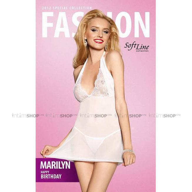 Прозрачная Сорочка с Кружевным верхом и Стринги Soft Line Marilyn, белые S/M фото