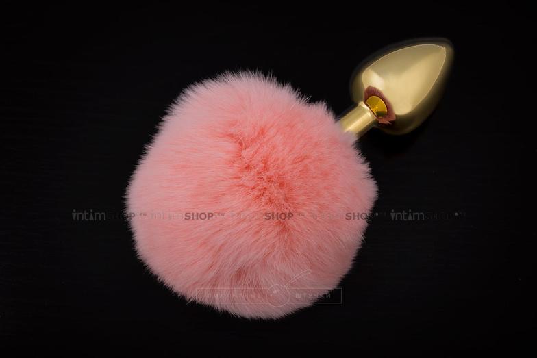 Анальная пробка Пикантные Штучки с розовым пушистым хвостом, золотистая, 6 см