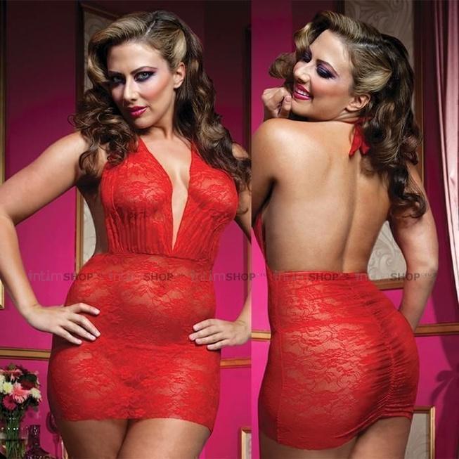 Роскошное Мини-Платье из Кружева с Трусиками - XL, красный