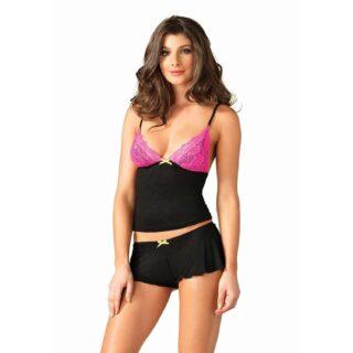 Комплект Leg Avenue Lace & Jersey cami & shorts, M