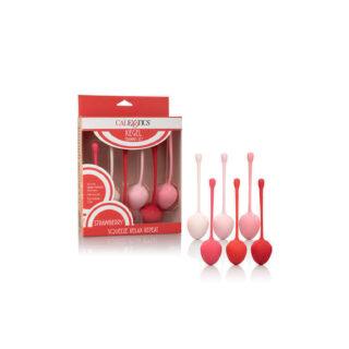Набор необычных одинарных вагинальных шириков в виде клубники Kegel Training Set Strawberry