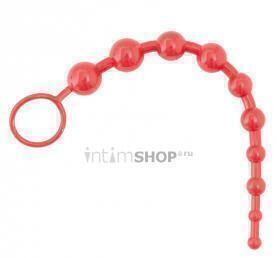 Шарики анальные цепочка ToyFa Black and Red Chain with Balls, красный