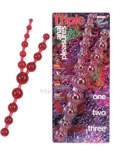 Шарики анальные тройные Seven Creations Triple Anal Pleasures, красные фото