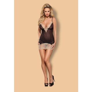 Сорочка черная с кружевным низом и стринги Obsessive Bisquella, L\XL