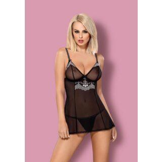 Сорочка и Стринги Obsessive 840-BAB-1, черный размер S/M