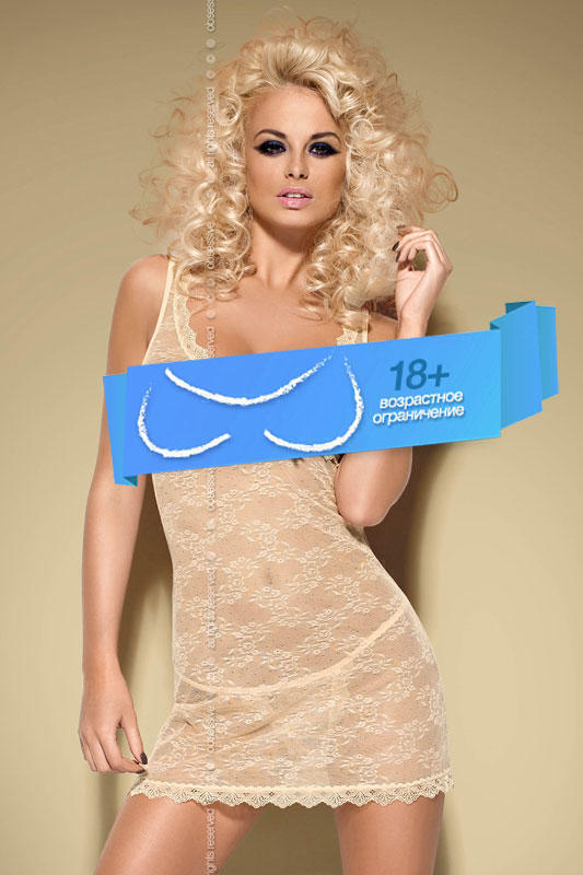 Сорочка и Стринги Obsessive Caramella Сhemise, размер S/M, цвет карамель