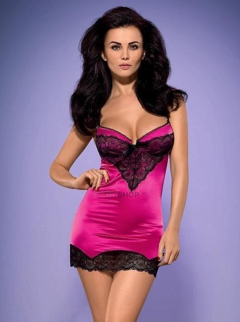 Сорочка и Стринги Obsessive Roseberry Сhemise, размер S/M, цвет розовый