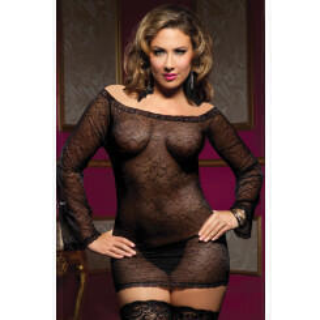 Прозрачное платьице с длинными рукавами и трусиками Seven`til Midnight, One Size XL