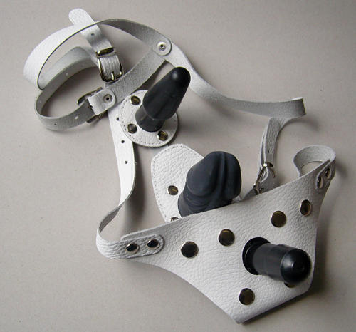 Трусики Harness Vac-U-Lock с анально-вагинальной стимуляцией - Sitabella, белые