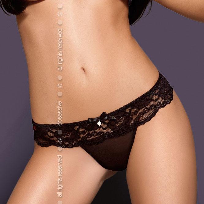 Стринги Obsessive Pearllight Thong, размер S/M, цвет черный