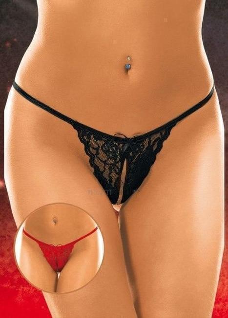 Стринги с разрезиком женские, красные S/L