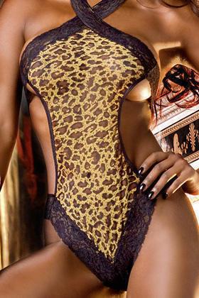 Тедди с леопардовым рисунком из тонкого материала в сеточку с кружевом