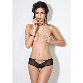 Трусики-шортики Easy to love с доступом и декоративной шнуровкой сзади, чёрные, L/XL