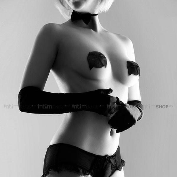 Украшение на Грудь Bijoux Indiscrets - Burlesque Pasties Glitter Bow, бантик черное