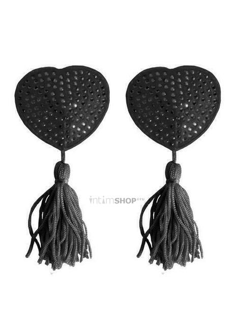 Украшение Ouch на соски Nipple Tassels Heart, черное