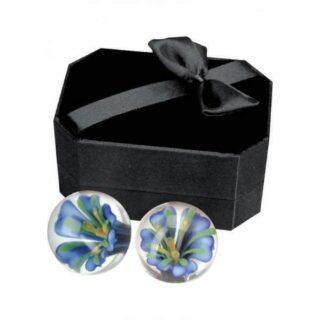 Вагинальные Шарики без Сцепки Ben Wa Pleasure Balls стеклянные с голубым цветком