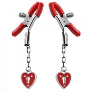 Зажимы на Соски Masters Heart Padlock Nipple Clamps, красный