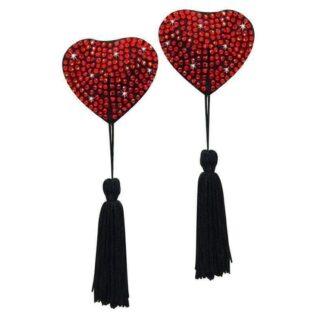 Пестисы с форме сердца с кисточками красные Heart-shaped Nipple Decoration