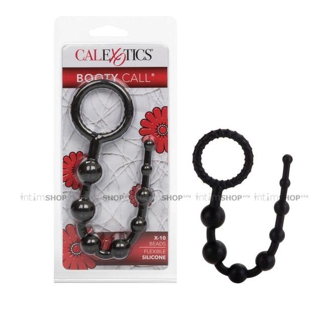 Анальная цепочка Booty Call X-10 Beads силиконовая, черная