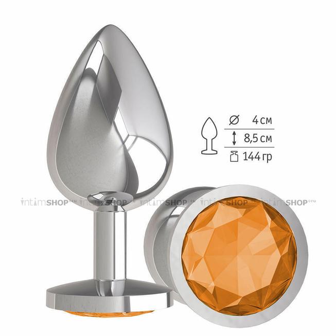 Анальная втулка Silver с оранжевым кристаллом большая