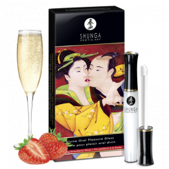 Блеск для губ 3 в 1 Shunga Oral Pleasure Gloss Клубника с шампанским, 10 мл
