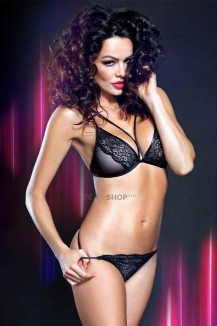 Комплект с сексуальными трусиками и эффектным бюстом Look At Me collection Gabrielle чёрный S