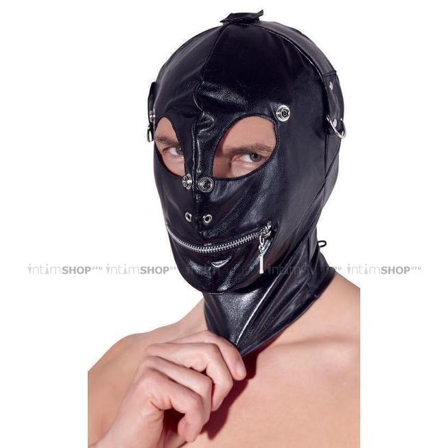 Маска на голову с отверстиями Imitation Leather Mask, черная