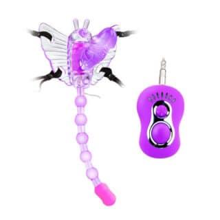 Стимулятор-бабочка с анальным отростком на ремешках Baile Butterfly, фиолетовый