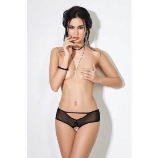 Трусики-шортики Easy to love с доступом и декоративной шнуровкой сзади, чёрные, XS/S